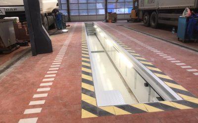 Einbau von Fertigteil Montagegruben als Wartungsgrube oder Prüfgrube in bestehende Hallen